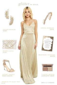 This modern gold maxi dress is the focal point of this look for a bridesmaid or formal wedding guest. If you're planning a wedding with touches of gold, or want metallic or gold bridesmaid dresses, this look might be ideal for your wedding party! Metallic Bridesmaid Dresses, Blush Dresses, Bride Dresses, Long Dresses, Navy Dress Outfits, Beautiful Maxi Dresses, Maxi Dress Wedding, Or Rose, Rose Gold