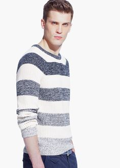 Striped chunky-knit cotton sweater from the casual collection with round ne Cotton Sweater, Men Sweater, Mens Fashion Sweaters, Versace Men, Boys Sweaters, Nautical Fashion, Men Style Tips, Fall Fashion Outfits, Pullover