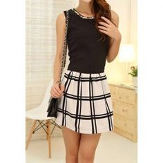 $9.49 Color Block Sleeveless Checked Polyester Casual Style Round Collar Dress For Women