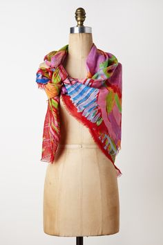 "Hot pink ""Atelier Scarf"" from Anthropologie, with whom Claire Desjardins collaborated. The print is Claire's painting, ""True and Fake"" (click to view it!). @Anthropologie"