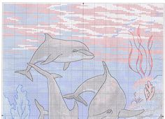 The Dolphins' Domain 1 of 4 Cross Stitch Sea, Cross Stitch Numbers, Free Cross Stitch Charts, Cross Stitch Animals, Cross Stitch Patterns, Cross Stitching, Cross Stitch Embroidery, Canvas Designs, Afghan Crochet Patterns