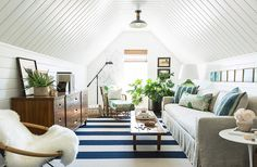 Majestic Attic remodel with dormers,Attic renovation uk and Brady bunch attic bedroom episode. Chic Beach House, Beach Cottage Style, Attic Renovation, Attic Remodel, Attic Rooms, Attic Spaces, Attic Bathroom, Living Room Decor, Living Spaces
