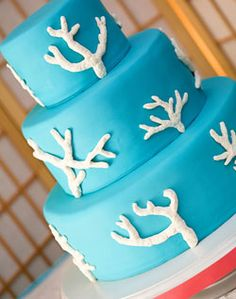 Blue coral wedding cake