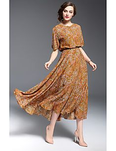 Women's Daily Going out Vintage Casual Street chic Loose Midi Dress,Flower Printing Round Neck Half Sleeves