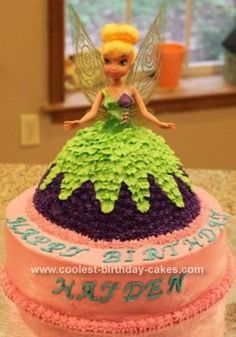 HomemadeTinkerbell Birthday Cake: I made this Tinkerbell birthday cake for my niece Hayden's 4th birthday. She had a Tinkerbell themed party (being a four-year old girl and loving all things