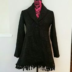 Billabong jacket Black billabong jacket with fringes around bottom.  Very cute and stylish. 10% wool. Size M. Good condition. Billabong Jackets & Coats