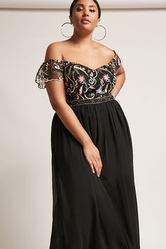 Product Name:Plus Size Floral Embellished Chiffon Gown, Category:CLEARANCE_ZERO, Price:78
