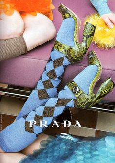 Green shoes, argyle socks - Prada 2011 ad  super sick socks!   check out more awesome sock photos on my FB page:  http://www.facebook.com/killersockz