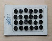 Vintage glass old stock black buttons on card 24pcs victorian rare jet buttons