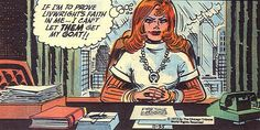 Panel from Brenda Starr Reporter comic strip featuring character Brenda Starr plotting at her desk, published by The Chicago Tribune, United States, 1973, by Dale Messick.