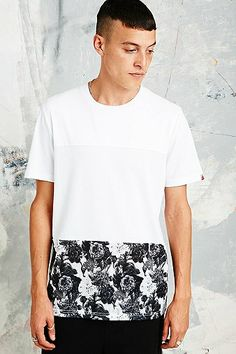 Worland Cut and Sew Print Mesh Tee in White - Urban Outfitters