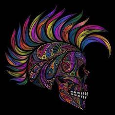 Skull with Mohawk. Color vector skull patterns and the Mohawk. Compass Tattoo, Sugar Skull Artwork, Badass Skulls, Zealand Tattoo, Candy Skulls, Sugar Skulls, Day Of The Dead Art, Skull Pictures, Skeleton Art