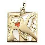 Christmas Gold Charm. The 2nd of the Twelve Days of Christmas Charm. Charm features 2 Turtle Doves forming a red painted heart.    http://www.charmnjewelry.com/gold-charms.htm  #GoldCharm