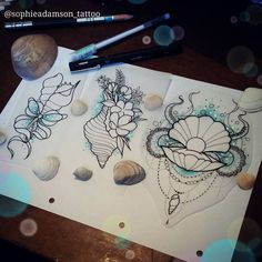 Shell tattoo anyone? Stop by The Projects Tattoo or Email/Pm me! If youre intere. Future Tattoos, Love Tattoos, Beautiful Tattoos, Body Art Tattoos, Small Tattoos, Seashell Tattoos, Mermaid Tattoos, Baby Mermaid Tattoo, Beachy Tattoos