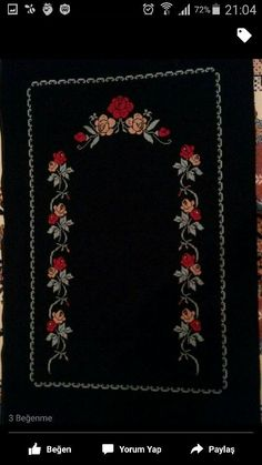 Etamine Prayer Rug Models and How to Make to . Hobbies And Crafts, Diy And Crafts, Ethno Style, Palestinian Embroidery, Prayer Rug, Color Harmony, Cross Stitch Flowers, Counted Cross Stitch Patterns, Baby Knitting Patterns