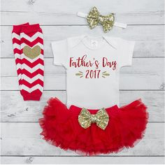 Newborn First Father's Day Outfit 2017 Baby Girl Fathers Day Outfit 1st Fathers Day Gift from Daughter Red and Gold Tutu Set