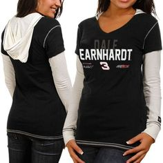 NASCAR Chase Authentics Dale Earnhardt Ladies Double Layer Hooded Long Sleeve Premium T-Shirt - Black-White (Small) by Football Fanatics. $34.95. Chase Authentics Dale Earnhardt Ladies Double Layer Hooded Long Sleeve Premium T-Shirt - Black-WhiteSewn-in hood and sleevesLightweight ribbed T-shirtScreen print graphics100% CottonContrast stitchingRib-knit v-neck collar & cuffsImportedOfficially licensed NASCAR productTagless collar100% CottonLightweight ribbed T-shirtS...