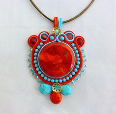 Turquoise and Coral Soutache Pendant Blue by SpotsandDotsDesign, $40.00