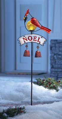 Solar Holiday Glass Noel Cardinal Garden Stake