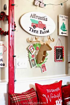 Hand painted Tree Farm sign on entryway gallery wall Christmas Home Tour-www.goldenboysandme.com