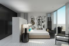 Bed in middle of room. Ignore rest of design