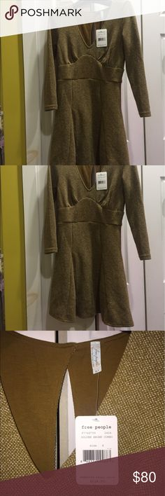 NWT Free People Dress Small Summer Green Brown NWT Free People Dress Small Summer Green Brown Free People Dresses Long Sleeve