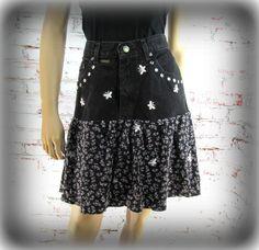 Denim skirt, Designer skirt, Black skirt, upcycled denim skirt, Size 8 skirt,    # 78