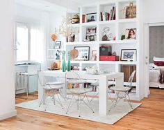 use shelves to display beautiful objects, books and pictures