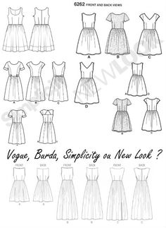 Comparatif des patrons de robes style vintage à corsage basique et jupe froncée - Vintage style dresses patterns-  La Bobine