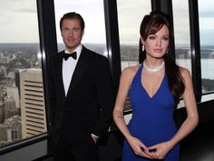 Wax figures of actors Brad Pitt and Angelina Jolie are on display on the observation deck of Sydney Tower in Sydney, Australia.