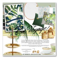 """""""Green & Gold"""" by daha-mk ❤ liked on Polyvore featuring interior, interiors, interior design, home, home decor, interior decorating, H&M, Roberto Cavalli, Wedgwood and Patchi"""
