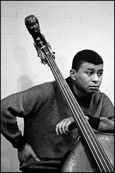 Paul Chambers, Columbia recording session, 1958 by Dennis Stock Francis Wolff, Paul Chambers, Newport Jazz Festival, A Love Supreme, Hard Bop, Musician Photography, Free Jazz, Drum Lessons, Double Bass