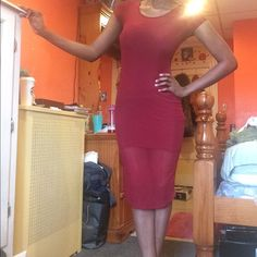 Forever 21 midi dress Cranberry/burgundy color. Super fitted. No flaws. Is see through for lower part of thighs until calfs. Super sexy. Light in weight. Perfect for spring and summer. Can wear with blazer and knee high boots for fall and winter. Worn 2x. Forever 21 Dresses Midi