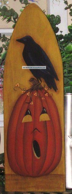 primative wood pumpkiins | Primitive ~ Hp Folk Art Pumpkin With Crow ~ Stretcher Primitives ...
