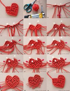 Macrame heart This one would be so cute for a little girl! Macrame Owl, Macrame Jewelry, Macrame Bracelets, Macrame Tutorial, Bracelet Tutorial, Yarn Dolls, Heart Diy, Micro Macramé, Bee Crafts