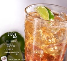 A true party drink: Ciroc Vodka, ruby red grapefruit, fresh-squeezed lime and Red Bull®.