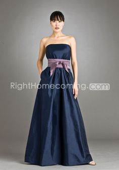 Charming A-Line Floor-length Strapless Bridesmaid Dress