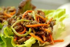 Asian Ground Beef, Mushroom, and Broccoli Slaw Lettuce Cups -- something different to do with ground beef! Use tamari or extra coconut aminos in place of the fish sauce. These work for Phase 1 (saute in water or broth; serve with brown rice) and Phase 3 (saute in olive or grapeseed oil).