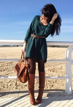 Dark Green Dress with Brown Tights and Boots | Perfect outfit for fall