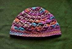 Rainbow crocheted hat.