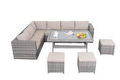 Port Royal Rattan Garden Furniture Table Dining Corner Sofa Set