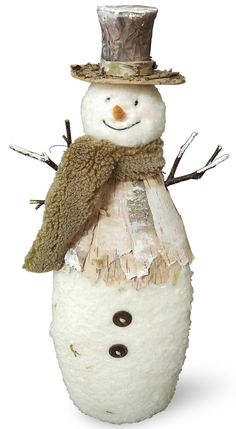 Features:  -Material: Fabric and birch wood.  -Handcrafted.  Product Type: -Figurines & Collectibles.  Theme: -Snowmen.  Seasonal Theme: -Yes.  Season: -Winter.  Quantity: -Individual Item.  Holiday T
