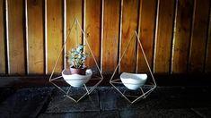 set of 2 diamond shape geometric hanger planter with a white ceramic flower pot | small desk garden | himmeli | gold geometric terrarium