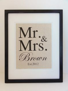 New- Cotton Anniversary Gift- MR & MRS, The perfect gift for 2nd year Anniversaries