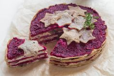 Christmas!! Vegan crepe pie with red beet pesto, tofu ricotta and oyster mushrooms || by The Green Toast