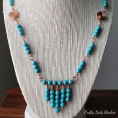 If ever there was ever a statement, this necklace would make it. The necklace is comprised of turquoise dyed howlite and copper, and boasts a chevron-style cascade at its center. The nickel-free toggle clasp gives it an added sense of security.
