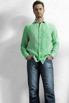 Argentina Linen Shirt - Green  Darcy Denim - Washed Blue