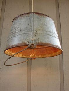 Upcycled Vintage Weathered Galvanized Pail Pendant Light.