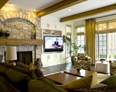 Put the tv next to the fireplace in a built-in cabinet. TV is on a swivel stand.