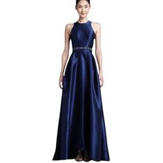 347b3fc250c St. John Liquid Satin V-Neck Gown (€1.590) ❤ liked on Polyvore featuring  dresses